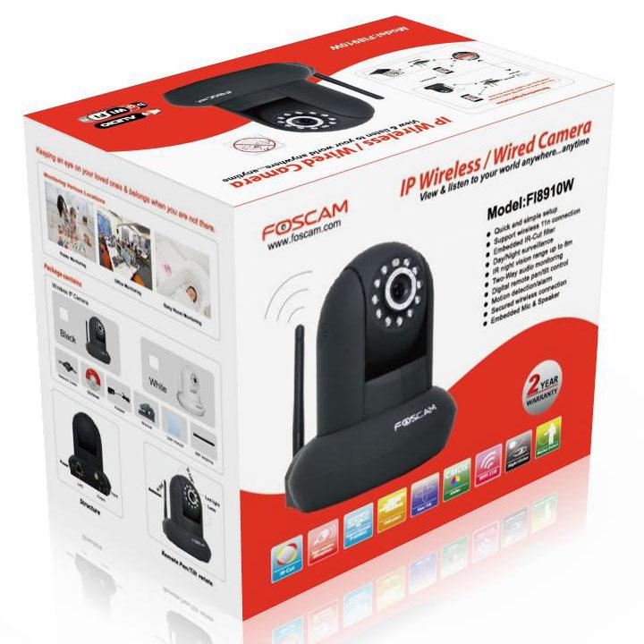 NEM ELÉRHETŐ - Foscam IP kamera: FI8910W fekete, WiFi, IR